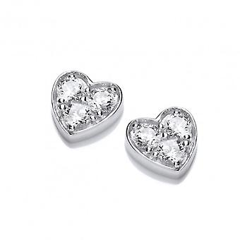 Cavendish French Sterling Silver Diddy CZ Heart Earrings
