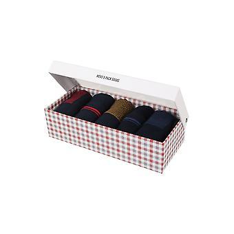 Ben Sherman Men's Gift Set 5 Everyday Calf  Socks Navy Blue Red Stripe Gull