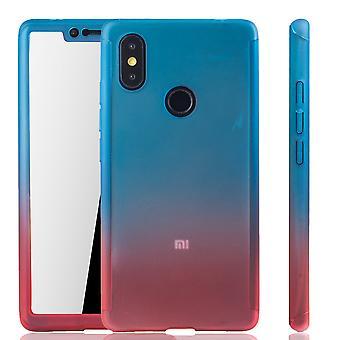 Xiaomi Mi 8 SE Handy-Hülle Schutz-Case Full-Cover Panzer Schutz Glas Blau / Rot