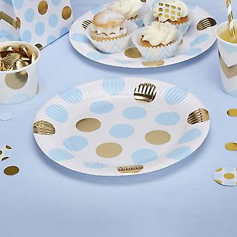 Party Plates Blue and Gold Dots Birthday/christening/Baby shower x 8