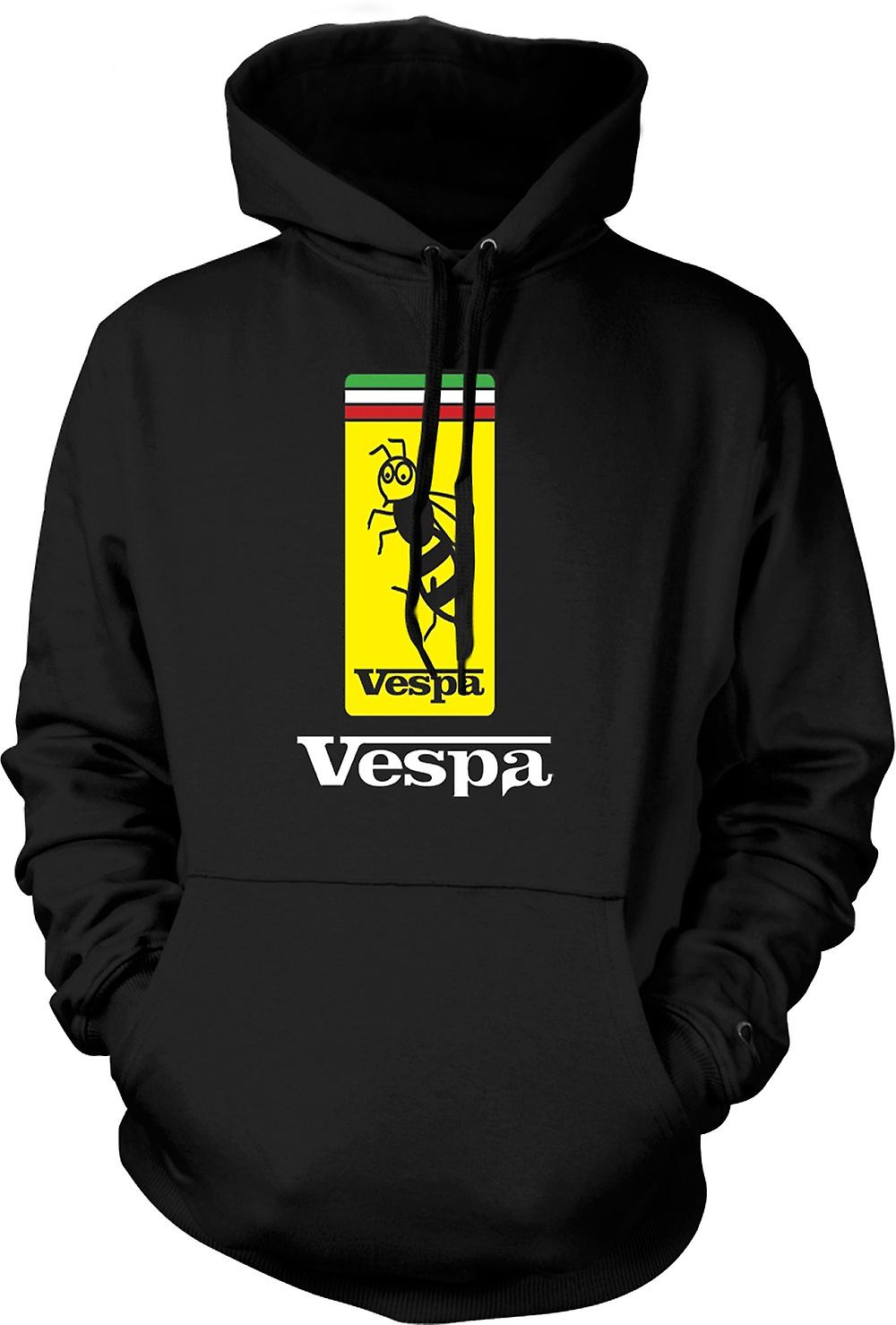 Mens Hoodie - Vespa Scooter Badge - Bee - Mod