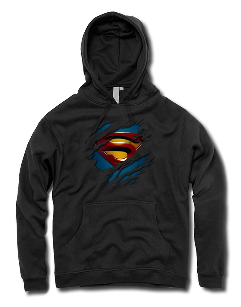 Mens Hoodie - Superman Under Shirt Effect - Action - Superhero