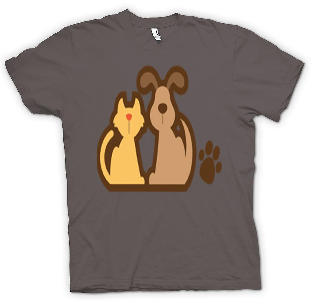T-shirt des hommes - Chat Et Dessin Cartoon Dog