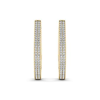 IGI Certified Natural 10k Yellow Gold 0.33 Ct Diamond Hoop Earrings Hooks
