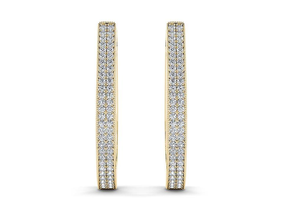IGI Certified Natural 10k jaune or 0.33 Ct Diamond Hoop boucles d'oreilles Hooks