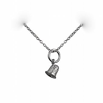 Silver 6x6mm seamstress's Thimble Pendant with a rolo Chain 14 inches Only Suitable for Children