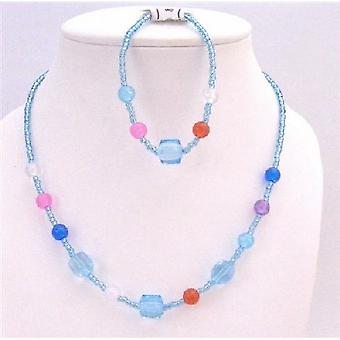 Blue Small Tiny Aquamarine w/ MultiColored Beads Necklace Girl Jewelry