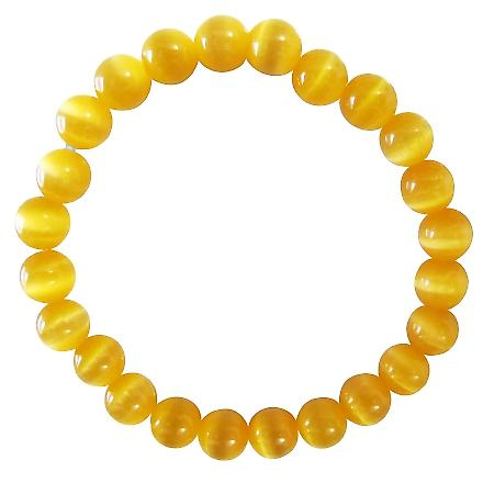 Stunning Saffron Cat Eye Jewelry Stretchable Bracelet Under $5