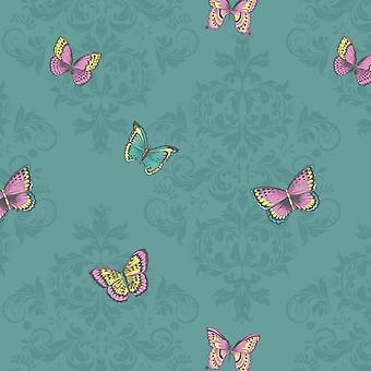 Glitter Butterfly Damask Wallpaper Sparkle Teal Pink Yellow Floral Holden Decor