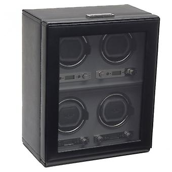 Wolf Designs Viceroy Black Leather & Grey 4 Piece Watch Winder 2.7