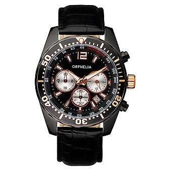 ORPHELIA Mens Chronograph Watch Intense Black Leather 153-6901-44