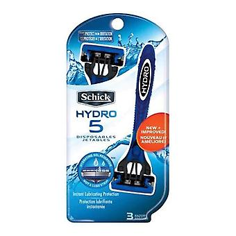 Schick hydro 5 razors, disposable, 3 ea