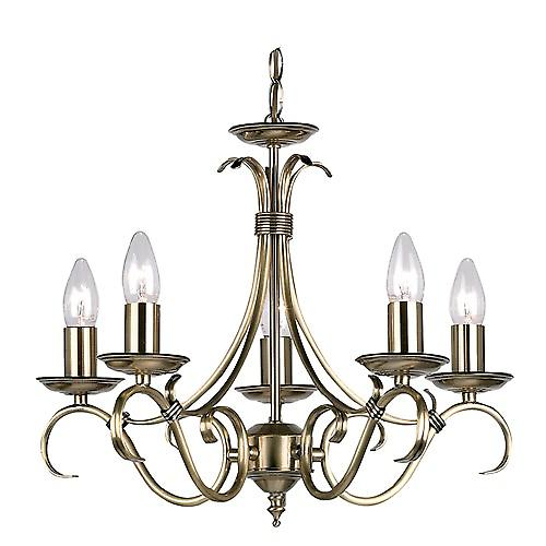 Endon 2030-5AN Traditional Antique Brass 5 Arm Ceiling Light