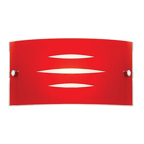 Endon HADLEY-1WBRE Hadley Modern Red Curved Glass Wall Light With Chrome Detail