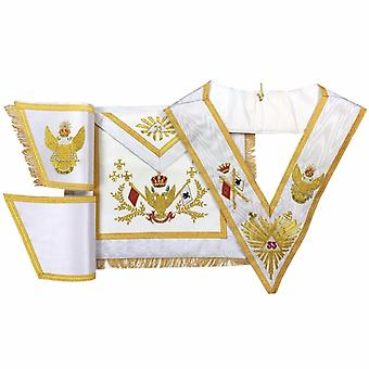 Rose Croix SCOTTISH RITE 33rd Degree Hand embroided Apron Set 'WINGS UP'