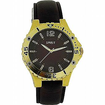 Spirit Gents Brown Dial  Gold Bezel & Brown PU Strap Fashion Watch 911-0207