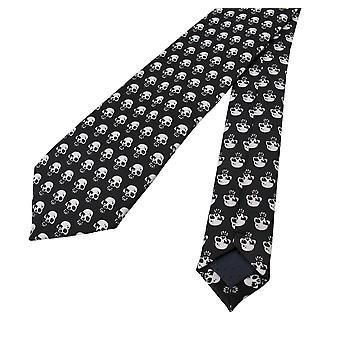 Gótico preto / branco caveira impressão gravata gravata