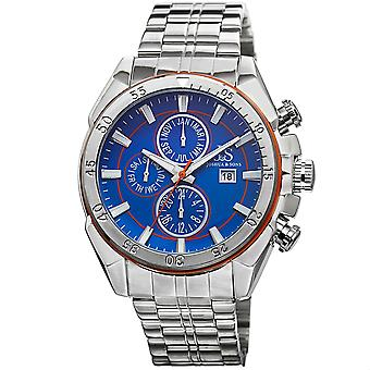 Joshua & Sons Men's Silver Multifunction Swiss Quartz Watch with Concentric Circles on Dial and Silver Bracelet Watch JS68OR