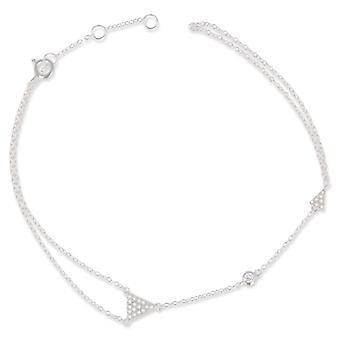 Rhodié silver arm band med zirconia 18cm