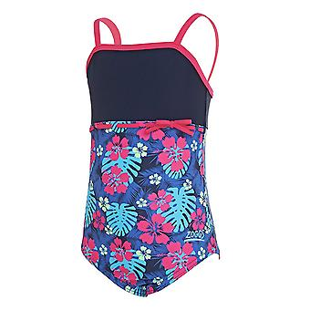 Zoggs Girls Kona Classic Back One Piece Swimsuit - Navy/Multi