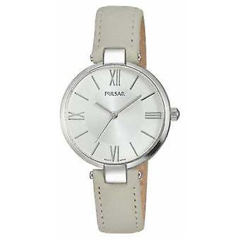 Pulsar Womens Taupe Leather Strap Silver Dial PH8245X1 Watch