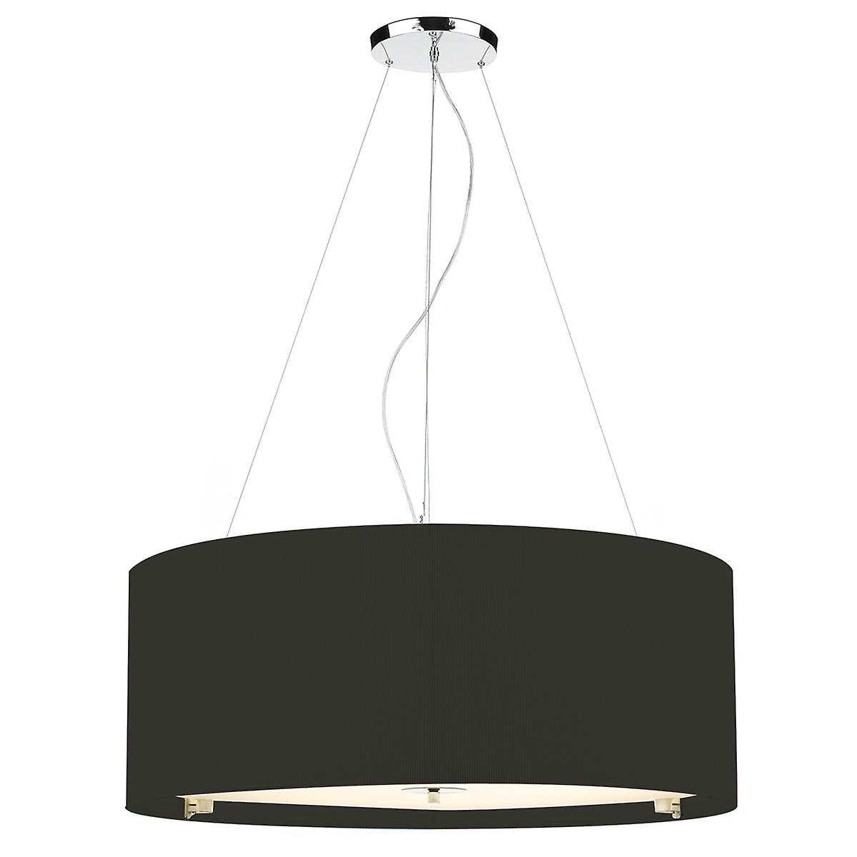 Dar ZAR0622 Zaragoza 90cm Black Cotton Drum Pendant With Glass