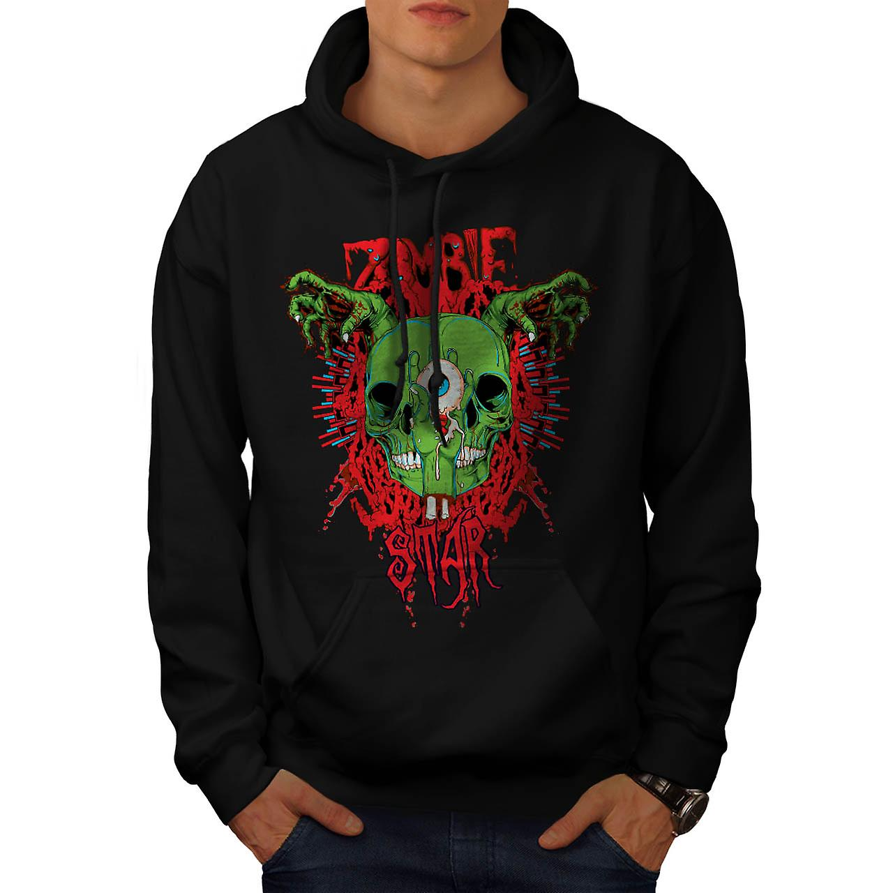 Monster Zombie Evil Star Night Men Black Hoodie | Wellcoda