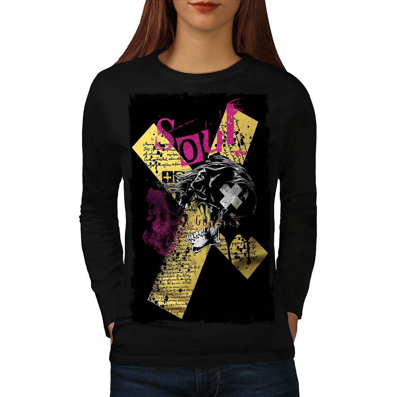 Cursed Soul Skull USA Haunted Women Black Long Sleeve T-shirt | Wellcoda