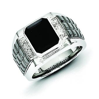 Sterling Silver Bezel Polished Prong set Gift Boxed Diamond and Simulated Onyx Square Black Rhodium-plated Mens Ring - R