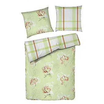 ROOSTER fine Beaver reversible bed linen flowers 140 x 200 cm Strip light green