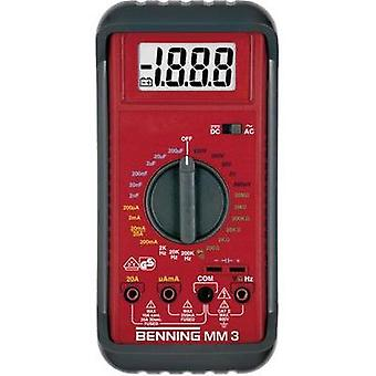 Handheld multimeter digital Benning MM 3 Calibrated to: Manufacturer standards CAT II 600 V, CAT III 300 V Display (cou