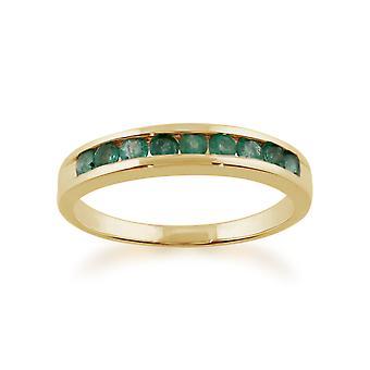 Gemondo 9ct Yellow Gold Channel Set 0.44ct Emerald Half Eternity Ring