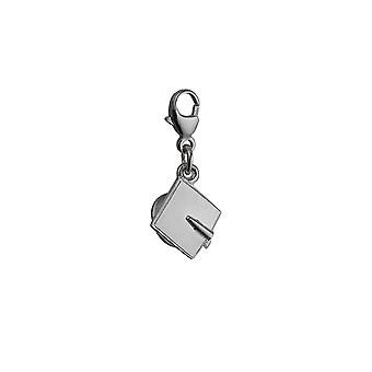 Silver 9x9mm graduation cap Charm on a lobster trigger