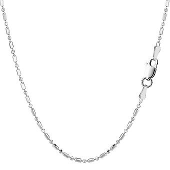 Sterling Silver Rhodium Plated & Diamond Cut Bead Chain Necklace, 1,5mm