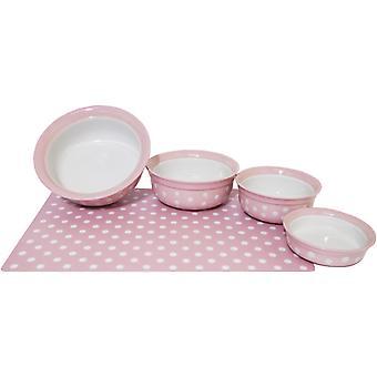 Steinzeug Haustier Schale Pink Polka Dot 7