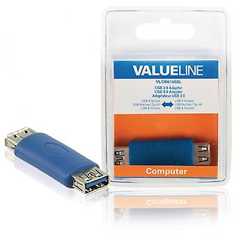 ValueLine USB 3.0 adapter USB A female-USB A female blue