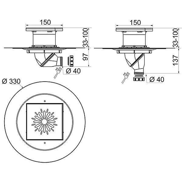 Quadratischer Punkt Badezimmer Untergrund Dusche Edelstahl 150mmx150mm entwässern