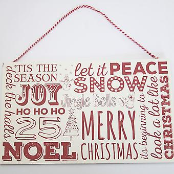 Christmas Wooden Sign - Red and White - Hanging Decoration Gift