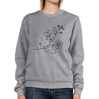 Flower Unisex Sweatshirts Flower Printed Round Neck Pullover Fleece