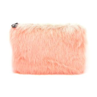 W7 Coral Fluffy/Furry Large Cosmetic Toiletry Make Up Bag