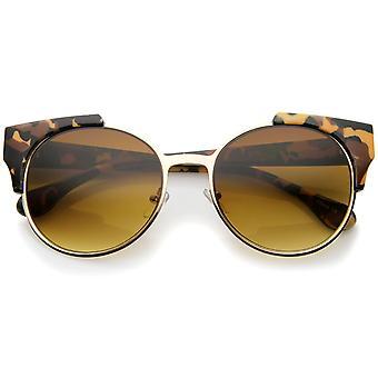 Moderne semi-uindfattede hjørne Horn kantede runde solbriller 53 mm