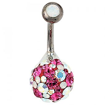 Piercing 925 /-s / titanium silver item pink Crystal belly button piercing
