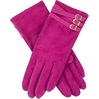 Deukjes Amy Buckle Detail Pigsuede Touch Screen handschoenen - fuchsia roze