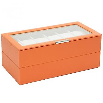 Wolf Designs Set Of 2 Orange 12 Piece Watch Trays