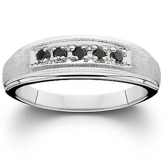 Mens Black Diamond Ring 14K White Gold