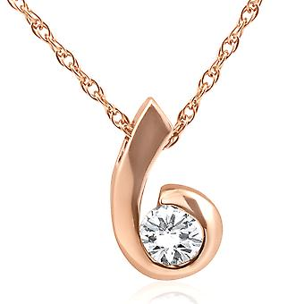 1/4ct Diamond Pendant 14K Rose Gold