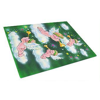 Carolines Treasures  AAH7253LCB Angels on Green Glass Cutting Board Large