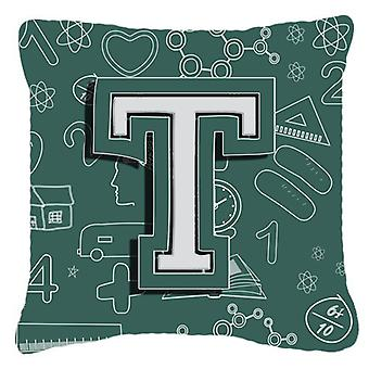 Letter T Back to School Initial Canvas Fabric Decorative Pillow