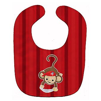 Carolines trésors BB8978BIB Pirate Monkey rouge Baby Bib