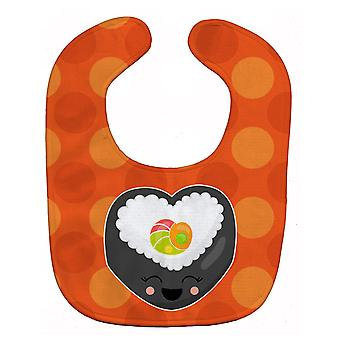Carolines Treasures  BB8801BIB Heart Sushi Roll with Face Baby Bib